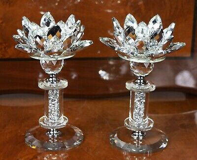 2x Crystal Cut Lotus Flower Candle Holder Stainless Joint Ornament Christmas  • 24.99£