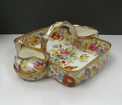 Vintage Hammersley Queen Anne 13166 Strawberry Basket, Sugar Bowl & Creamer A/f • 149.99£