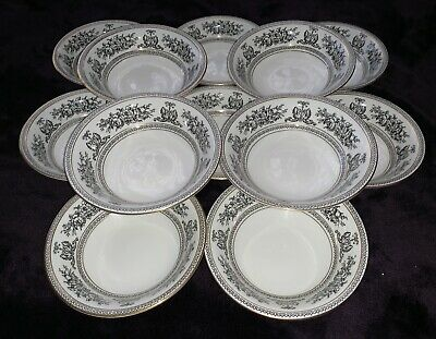 Wedgwood Columbia Black Oatmeal / Cereal / Dessert / Pudding / Soup Bowls • 220£