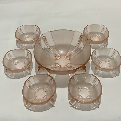 Vintage Art Deco 7 Piece Pink Pressed Glass Fruit Bowl Set • 15£