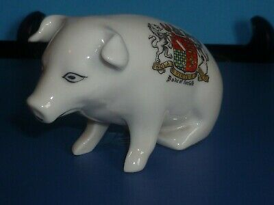 Unmarked Crested China Model Of A Sitting Pig. Crest Of Duke Of Norfolk • 4£