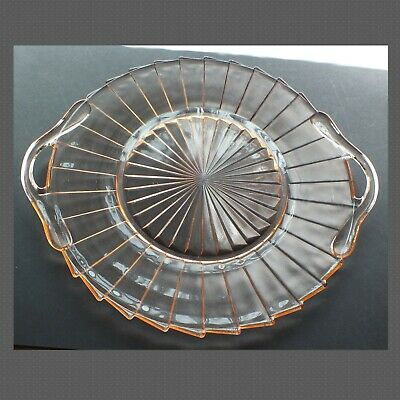 1930s 10  Fan-ribbed Serving Tray  SIERRA   With Handles  Depression Glass  • 14.50£