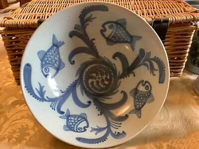 Buchan Scotland Stoneware Bowl With Seaweed And Fish Design • 8£