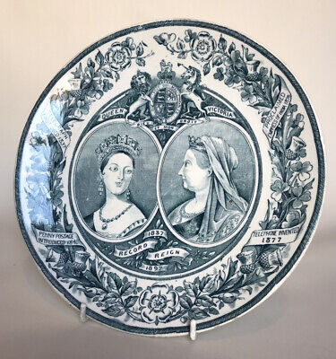 Wagstaff Brunt Staffordshire Queen Victoria Diamond Jubilee Commemorative Plate • 29.50£
