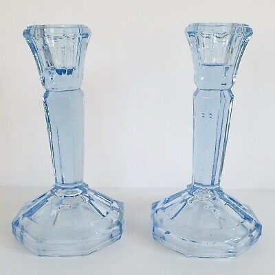 Pair Of Vintage Art Deco Pressed Glass Candle Sticks - Light Blue - 6 Inches • 9.95£