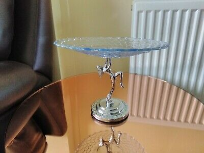 Vintage Art Deco Naked Chrome Lady And Blue Glass Cake Stand .stepped Base • 22.99£