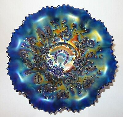 Antique Northwood Carnival Glass Fluted Bowl Good Luck In Blue. • 39.99£