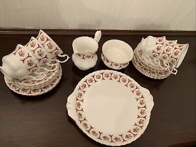 Coronet Bone China Tea Set For 6 Pink • 10£