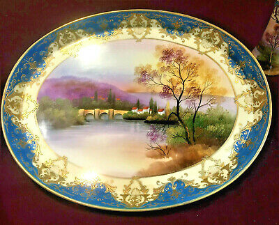 Early 1910's-20's Noritake Lake Scene China Tray With Matching Hatpin Stand, VGC • 20£