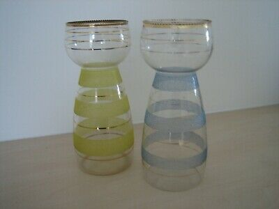 TWO Vintage Mid Century Hyacinth Bulb Vases Frosted Glass • 12.50£