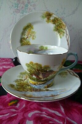 Vintage Shelley English China Trio Tea Cup Saucer Plate Old Mill 13669 • 14£