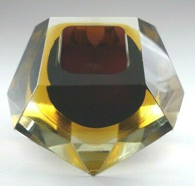 Murano Sommerso Block Faceted Geode Bowl 3 Colours Purple Amber Brown • 30£