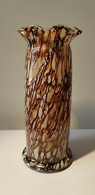Vintage 8'' High Brown And White Ruffled Top Splatter Glass Vase • 3.50£