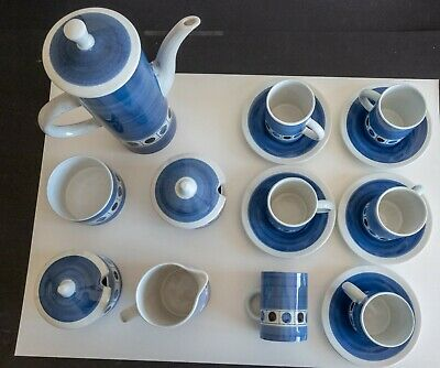 CINQUE PORTS POTTERY - THE MONASTERY, RYE - 1960s BLUE & WHITE COFFEE SET • 35£