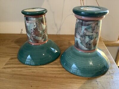 Jersey Pottery Pair Of Candlesticks • 5.99£
