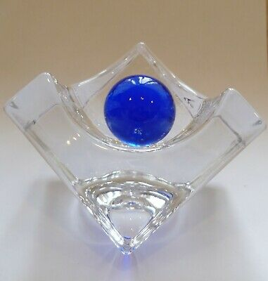 Vintage Daum, Crystal Cube Sculpture, With A Blue Ball. • 75£
