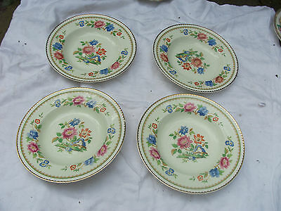 Set Of 4 Beautiful Floral Decorated 9  Bowls By Portland Pottery Cobridge 1953 • 4.99£