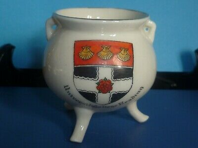 Griffin Crested China Irish Bronze Pot. Crest Of University College Reading • 5£