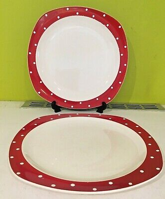 Vintage 1950s  Midwinter Red Domino Stylecraft  10'' Plates By Jesse Tait • 22.99£