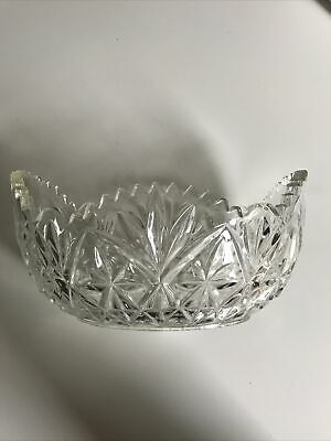 Moulded Glass Fruit Flower Oval Bowl. Serated Edge • 1.30£