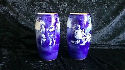 Pair Royal Doulton Vases Blue Children Series C. 1900  - Makers Mark To Base • 135£