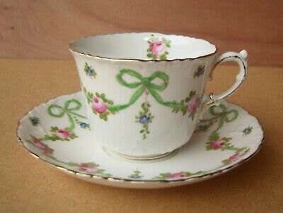 Crown Staffordshire Green Buds Swags Cup And Saucer • 22£
