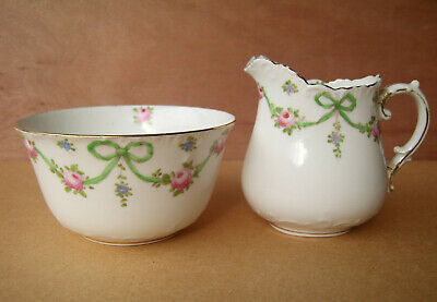 Crown Staffordshire Green Bows Swags Jug And Bowl • 10£