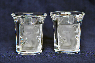 Pair Of Lalique Shot Glasses , Signed • 50£