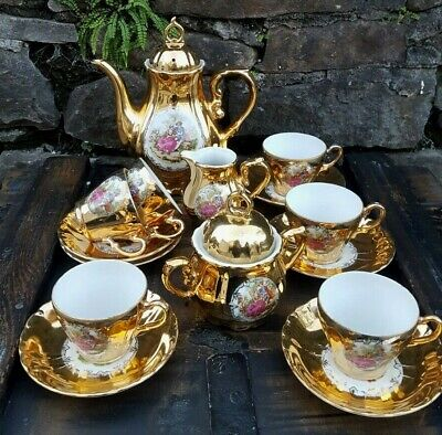 Foreign Stamped Antique Vintage Gold Plated Courting Tea Pot Set X 6 Settings, • 42.99£