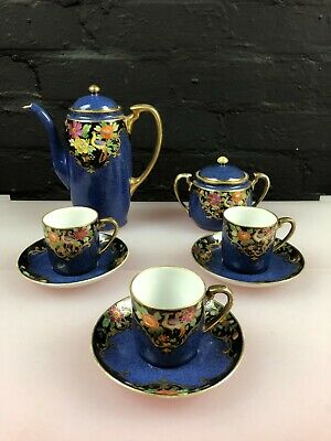 Noritake Coffee Pot Set For Three Blue Komaru Mark Early 20thC Cups Saucer Sugar • 99.99£