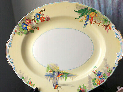 Antique GRINDLEY Oval Plate English The Old Mill Pattern Sandwich Huge Platter  • 15£