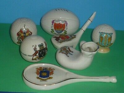 7 X Pieces Of Sports Themed Crested China  All In VGC. Golf, Rugby, Tennis Etc' • 25£