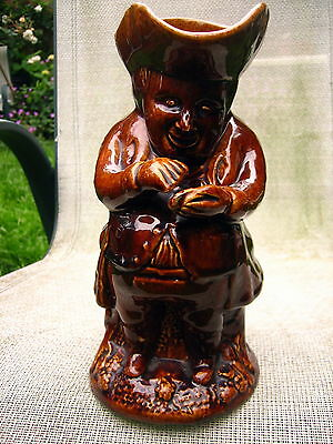 Antique Large And Heavy Toby Character Jug Snuff Taker ? Brown Treacle Glaze  • 35£