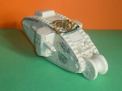 Unmarked Crested China Model Of WW1 Tank HMS Donner Blitzen. Crest Of Plymouth • 25£