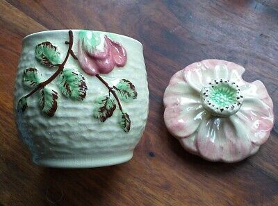 Vintage Shorter & Son Majolica Pink Rose Jam Pot And Lid Made In Great Britain  • 12.95£