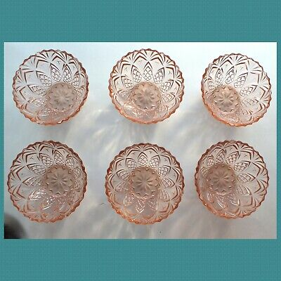 Set Of 6  PINK  PINEAPPLE  French Glass DESSERT BOWLS • 12.50£