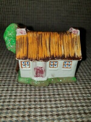 Vintage Pottery Matchbox Holder . Cottage. Keele St Pottery.  Hand Painted  • 7£
