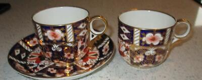 Pair Old Royal Crown Derby Cups & 1 Saucer Pattern 2451 • 20£