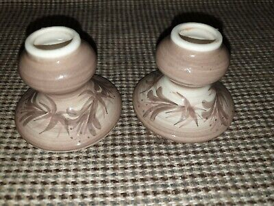Jersey Pottery Candle Holders.  Pair. Hand Painted.  • 6£