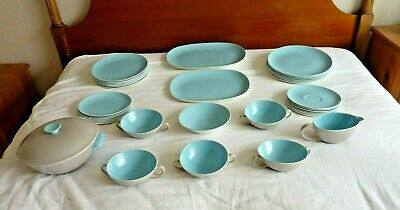 Poole Pottery Twintone Sky Blue And Dove Grey Dinner Service • 100£