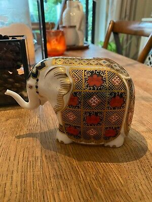 Royal Crown Derby Old Imari 10cm Elephant Paperweight Gold Stopper Excellent • 65£