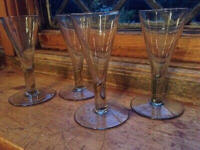 Georgian Style Hand Blown Glass Conical Gin Cordial Glasses • 29.99£