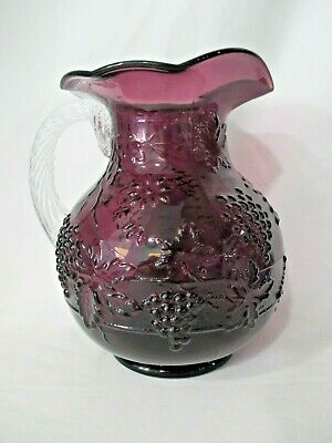 Mosser Cable And Grape Amethyst Purple Clear Handle Large Glass Pitcher EUC • 32.84£