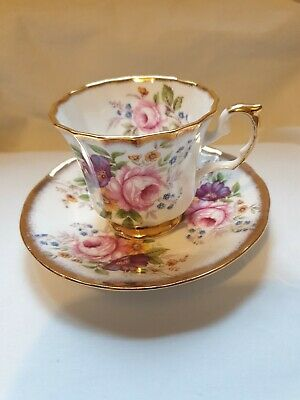 Queens China Jacobean Roses Cup And Saucer • 12£