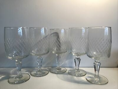 """5x Wine Glasses- Thin Etched/Cut Glass. 6"""". • 6£"""
