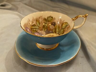 Antique Aynsley Fruit Tea Cup Saucer Turquoise  • 20£