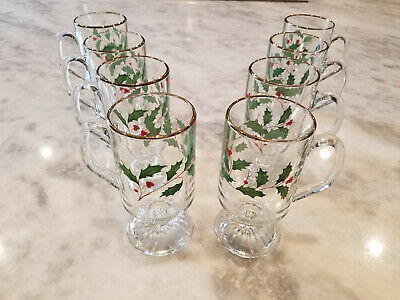 Lenox Holiday Dimension Glassware - Irish Coffee Mugs - Set Of 8 - Unused • 53.81£