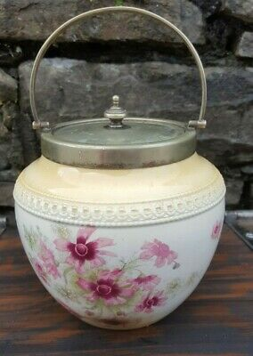 Antique 1890s Biscuit Jar Crescent Ware Made In England By George Jones & Sons • 24.99£
