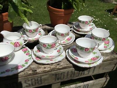 Royal Vale Pink Rose 21 Piece Teaset, Glorious • 55£