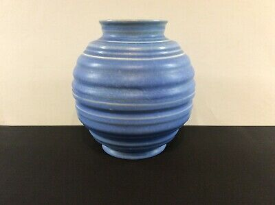 Art Deco Carlton Ware Blue Ribbed Vase C1930s • 6.99£